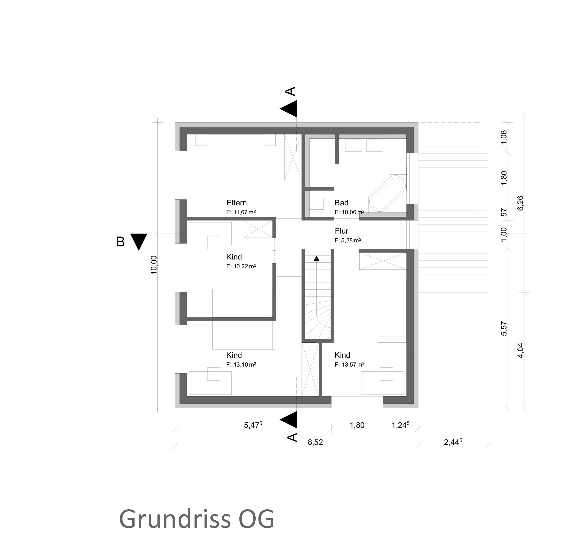 8Einfamilienhäuser Bauträger Grundriss OG Stutensee Bahnhof